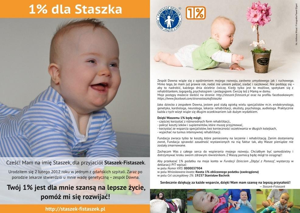 1% dla Staszka-Fistaszka - ulotka