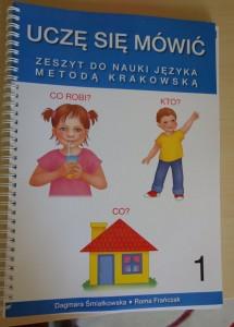 """zeszyt do nauki języka Metodą Krakowską """"Uczę się mówić""""  Śmiałkowska Frańczak"""