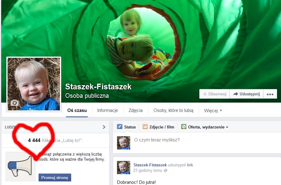 4444 fannów na facebooku